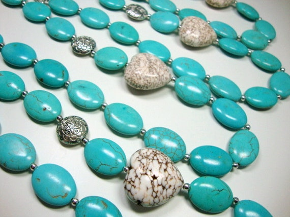 Turquoise Love Heart Necklace for Four Bridesmaids, Wedding Jewelry, Bridesmaid Necklace