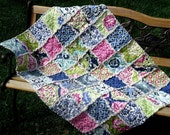 Baby Blanket Rag Quilt - Infant Crib Size - Secret Garden Fabric