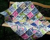 Baby Blanket Rag Quilt - Infant Crib Size - Secret Garden Fabric