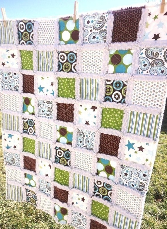 All Star 2 Baby Rag Quilt in Green, Brown and Blue