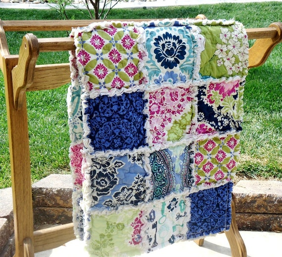 Crib Size Rag Quilt - Baby Blanket - Infant Bedding - Secret Garden Fabric - MADE TO ORDER - Last One
