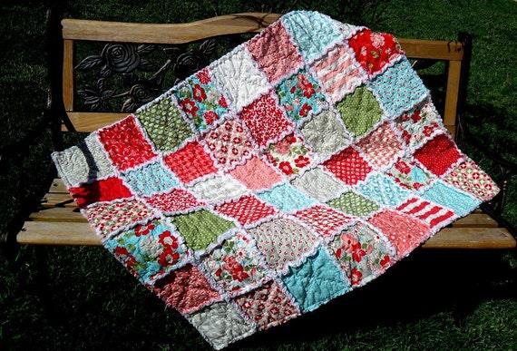 Baby Blanket Rag Quilt - Infant Crib Size  - Vintage Modern Fabric
