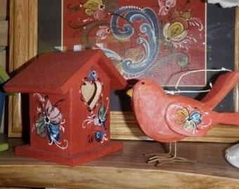 Norwegian Rosemaled Cardinal Red Bird Ornament