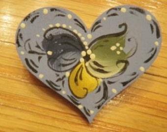 Norwegian Rosemaled Small Heart Pin