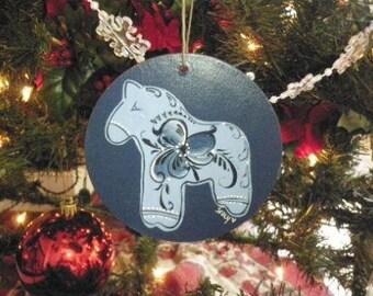 Norwegian Fjord Horse Rosemaled Ornament