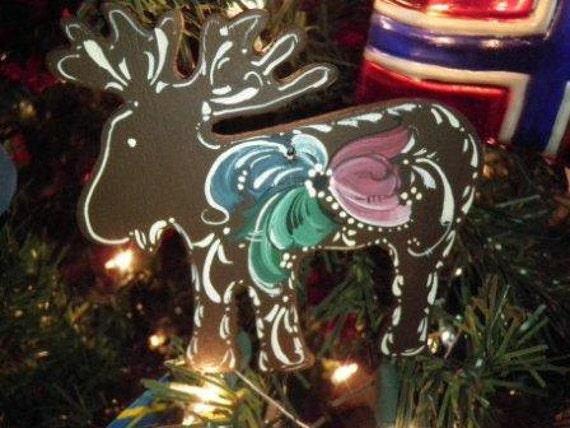 Norwegian Rosemaled Moose or Reindeer Ornament