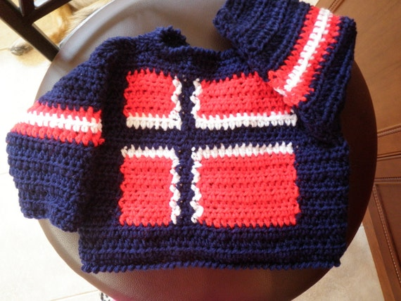 Norway flag baby sweater