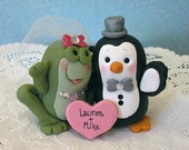 Custom Cute Animal Wedding Cake Topper Personalized on Heart