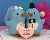Personalized Blue Birds Wedding Cake Topper