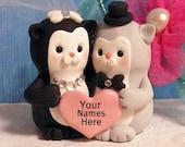 Personalized Tuxedo Cats Wedding Cake Topper