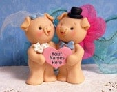 Pig Cake Topper, Cute Piggies in Love Wedding Cake Topper for the Bride and Groom
