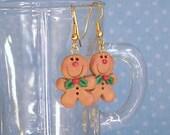 Gingerbread  Earrings  / Cute Christmas Earrings / Miniature Ornaments