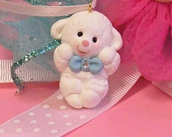 Sweet Little Lamb with Crystal Bow Accent