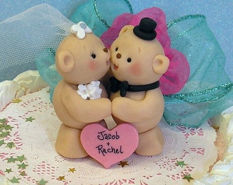 Teddy Bear Bride and Groom Wedding Cake Topper and Anniversary Keepsake / With Bridal Veil