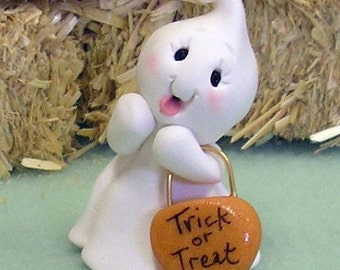 Trick or Treat Ghost Halloween Miniature Figurine Cupcake Topper