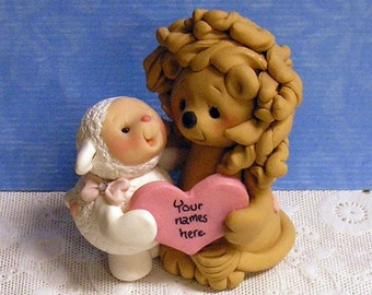 Lion and Lamb Wedding CAKE TOPPER Personalized