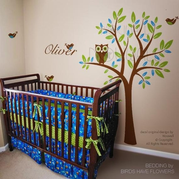 Baby bedding boy bedding forest fun owls custom baby bedding with