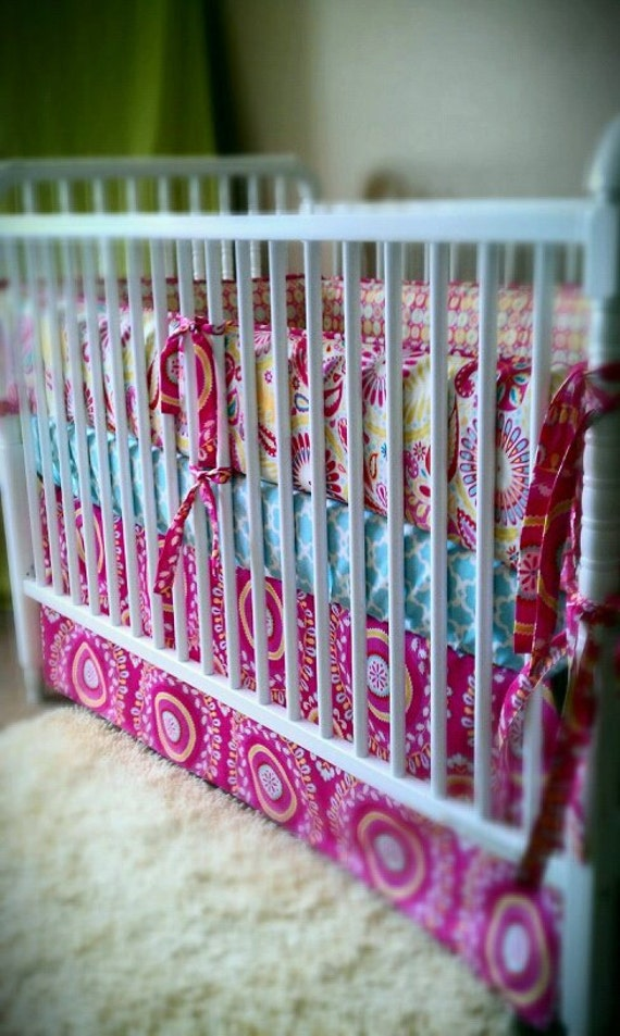 reserved for  nounces   Garden Kumari Bedding with flannel blanket , bumper set, fitted sheet and crib skirt
