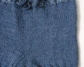 Hand Knit Wool Soaker Med. Blue Denim color