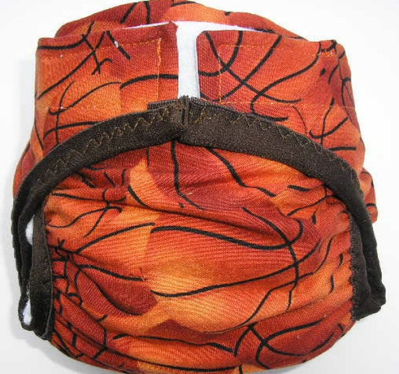 Diaper cover PUL lined Basketball print size Small