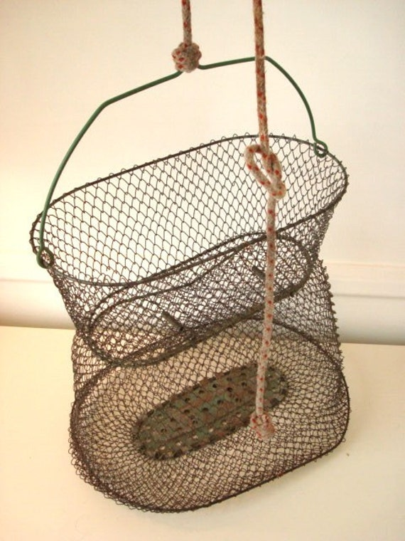 French wire fishing basket by extravirginhome on etsy for Fish wire basket