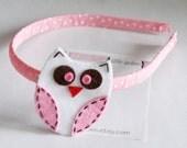 LittleLoulees hairbow boutique Sweet Little Owl Headband in Light Pink Swiss Dot