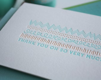Letterpress Thank You Cards - Blank Thank You Cards - Doodles : Set of 6