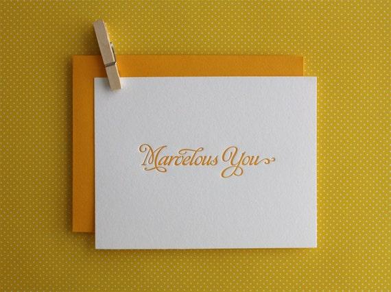 Letterpress Greeting Card - Marvelous You