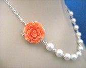 Bridesmaid Necklace Tangerine Rose and Pearl Wedding Necklace