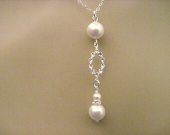 Bridal Necklace Pearl and Crystal Oval Sterling Silver Wedding Necklace