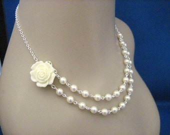 Bridesmaid Jewelry Cream Rose, Ivory Flower Double Strand Pearl Wedding Necklace