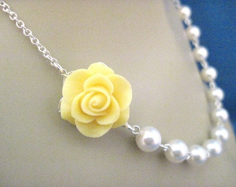 Bridesmaid Jewelry Yellow Beauty Rose and Pearl Wedding Necklace