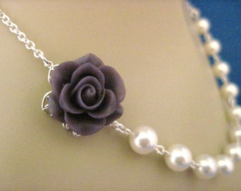 Bridesmaid Jewelry, Plum Wedding, Deep Plum Rose and Pearl Wedding Necklace