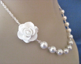 Bridesmaid Jewelry White Beauty Rose and Pearl Wedding Necklace