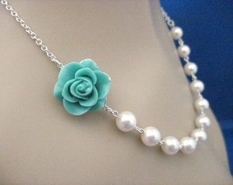 Bridesmaid Jewelry Aqua Beauty Rose and Pearl Bridal Necklace