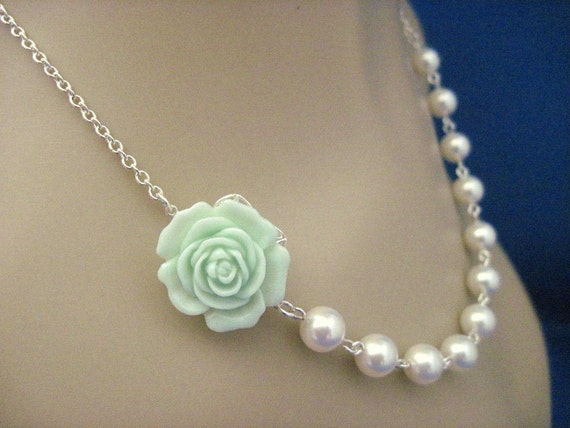 Bridesmaid Necklace Mint Flower and White Pearl Wedding Jewelry