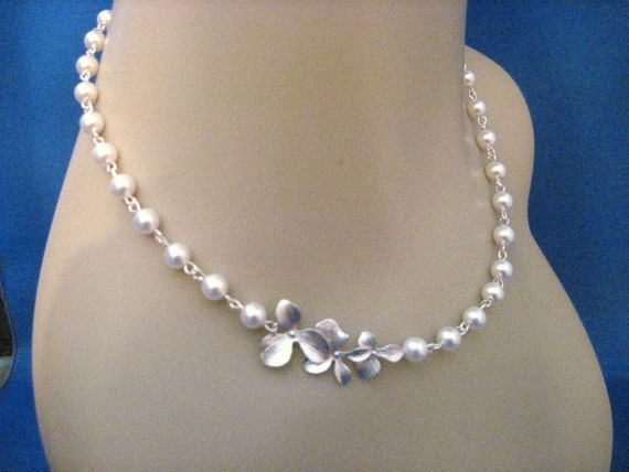 Wedding Jewelry Cassandra Pearl and Orchid Bridal Necklace