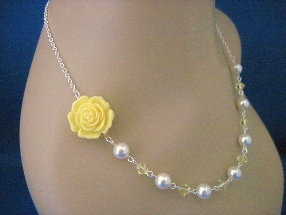 Bridesmaid Jewelry Yellow Rose and Pearl Wedding Necklace