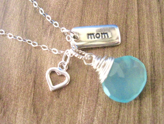 Mom Necklace with Aqua Chalcedony Wire Wrapped Pendant