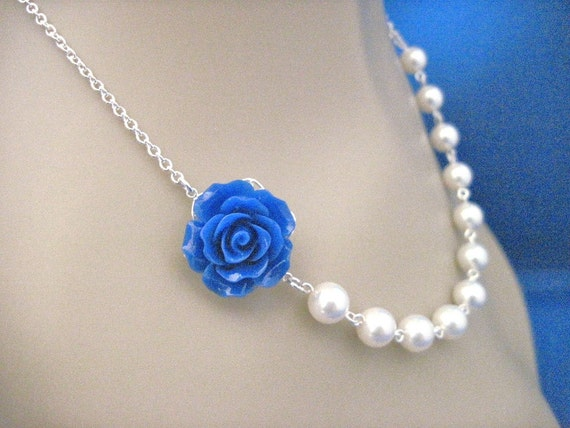 Valencia Rose Royal Blue and Pearl Bridesmaid Necklace