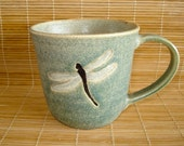 Lovely Handmade Stoneware Sage Green DRAGONFLY Coffee Mug