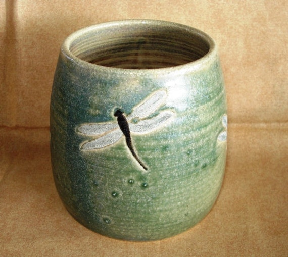 Handmade Stoneware DRAGONFLY Cup for Wooden Spoons