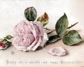 Digital Download Scan Soft Chic Pink Shabby Rose Postcard u Print GS0008