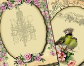 ATC Antique Aged Digital Collage Sheet Postcards vintage Papers Crowns Birds hang tags Pink Roses A0003
