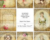 ATC SIZE 8 Vintage Designed Collage Sheet Roses Victorian Women Crown Bee Floral Papers Altered Art ECS a007