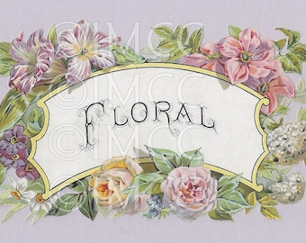 Digital Download SCAN Floral Scrap Medallion Roses ECS