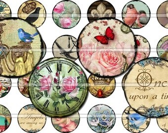 1 Inch Circles Ultimate Mix - Collage Sheet Birds Bees Crowns Paris French Postcards Pink Roses Clocks C0002