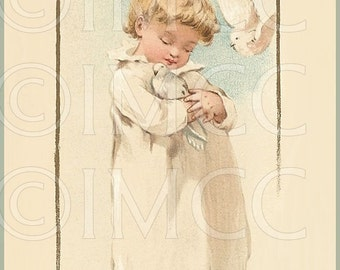 Victorian Cherub Angel Doves Digital Download Scan Birds ECS Printable U Print