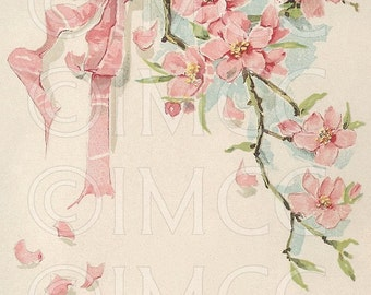 Digital Download Scan Vintage Pink Flowers ECS