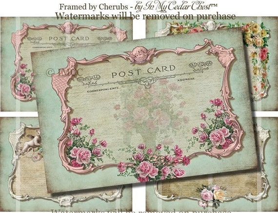 Vintage Shabby Roses Chic ATC ACEo Altered Art Postcards Carte Postal Digital Download Collage Sheet Cherubs Crowns ECS A0001